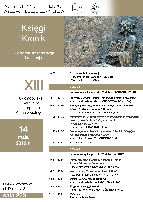 "Ogólnopolska Konferencja pt. ""Księgi Kronik – orędzie, interpretacja, recepcja"""